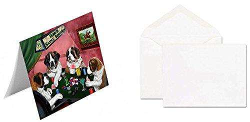 Home of 4 Saint Bernard Dogs Playing Poker Note Card (20)