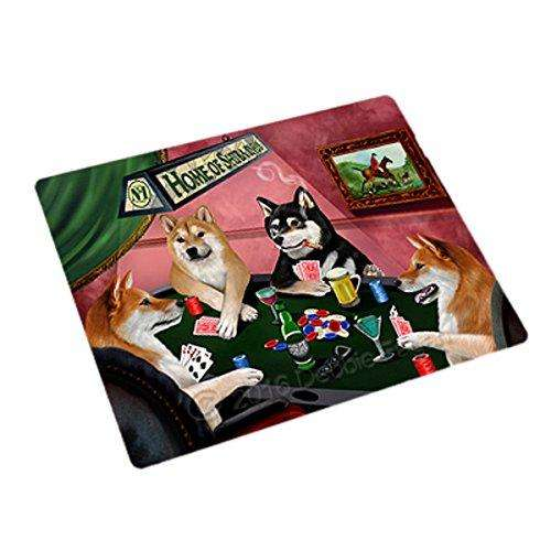 Home of 4 Shiba Inu Dogs Playing Poker Large Stickers Sheet of 12