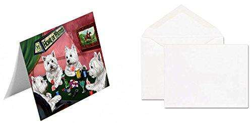 Home of 4 West Highland White Terrier Dogs Playing Poker Greeting Card (20)