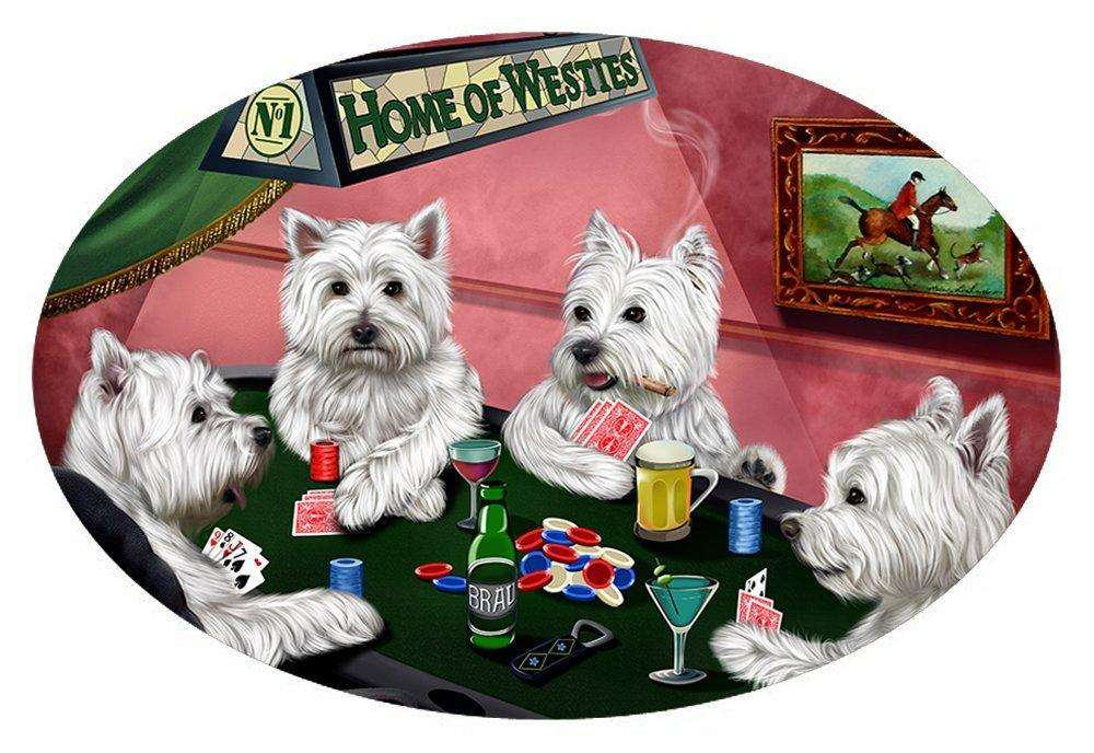 Home of 4 West Highland White Terriers Dogs Playing Poker Oval Envelope Seals