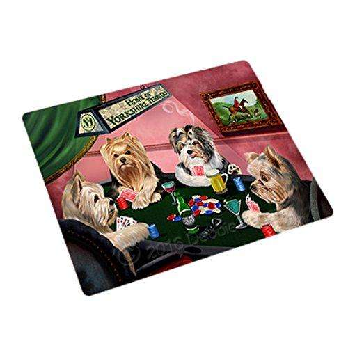 Home of 4 Yorkshire Terriers Dogs Playing Poker Large Stickers Sheet of 12