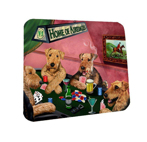Home of Airedale Coasters 4 Dogs Playing Poker (Set of 4)
