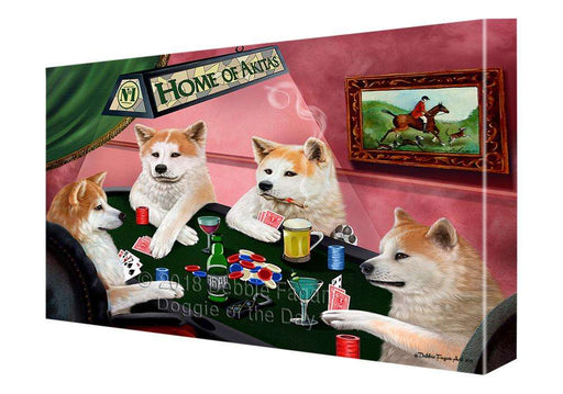 Home of Akita 4 Dogs Playing Poker Canvas Print Wall Art Décor CVS106946