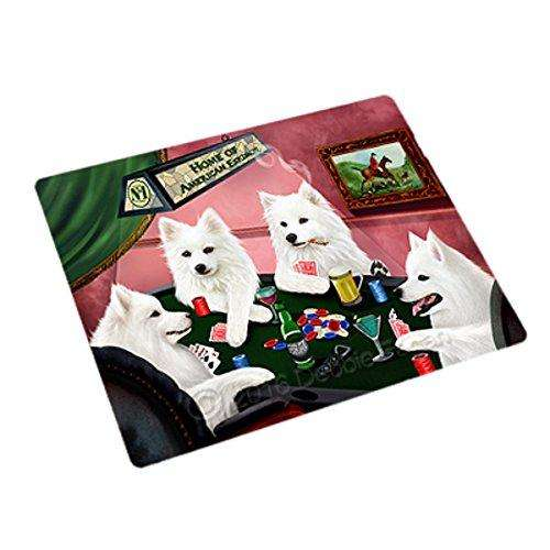 "Home of American Eskimos 4 Dogs Playing Poker Magnet Mini 3.5"" x 2"""
