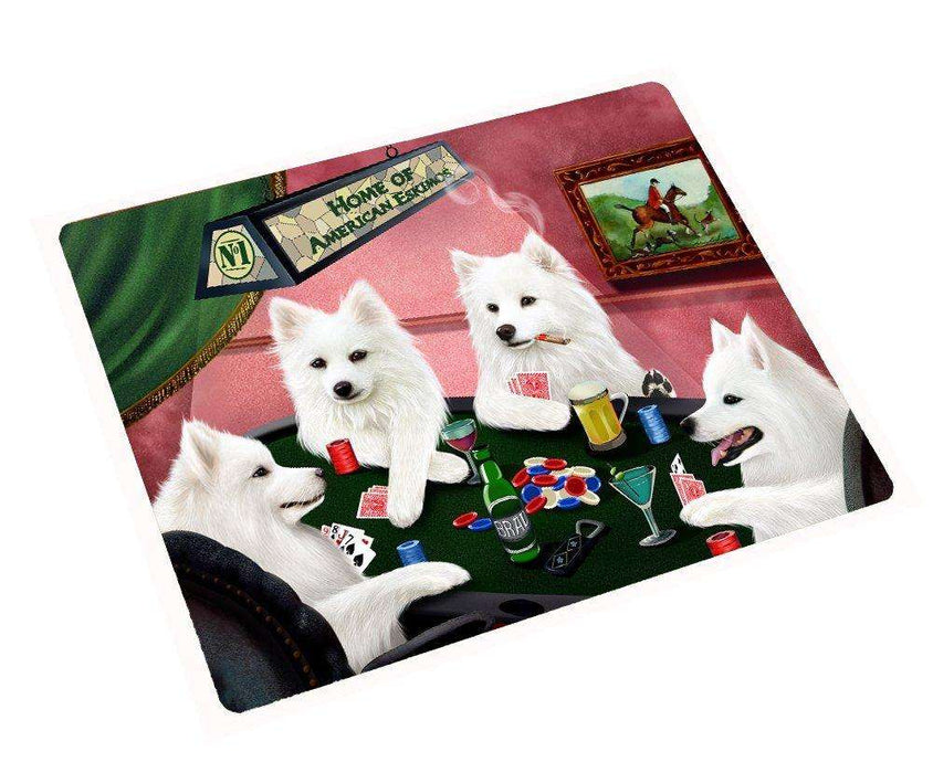 Home of American Eskimos Tempered Cutting Board 4 Dogs Playing Poker