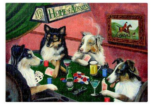 Home of Aussies Australian Shepherd Puzzle 252 Pc. with Photo Tin Four Dogs Playing Poker