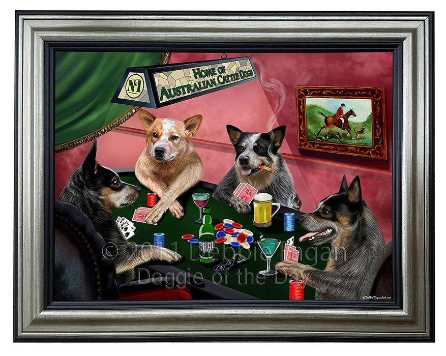 Home of Australian Cattle 4 Dogs Playing Poker Framed Canvas Print Wall Art