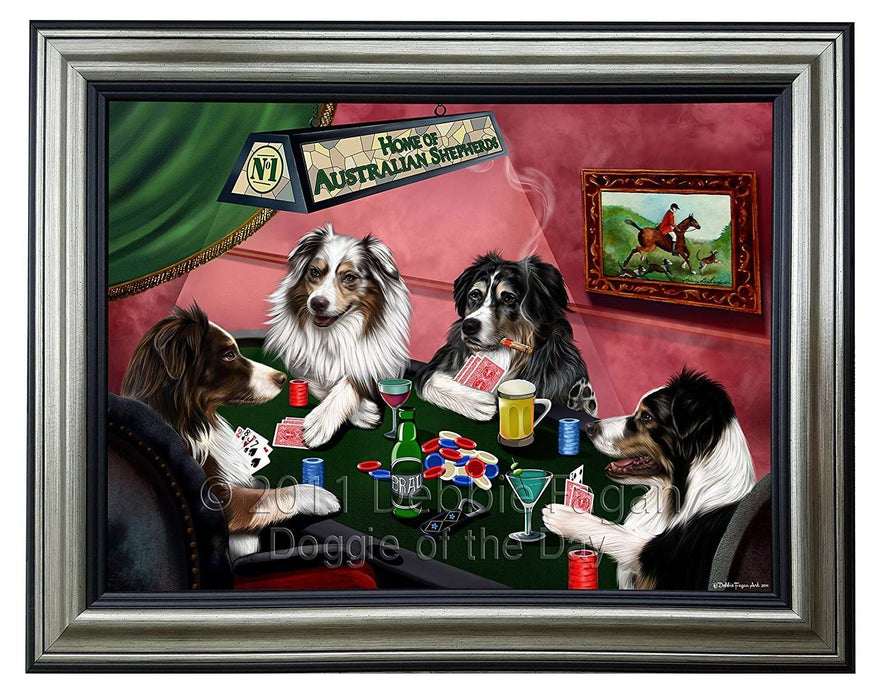 Home of Australian Shepherd 4 Dogs Playing Poker Framed Canvas Print Wall Art
