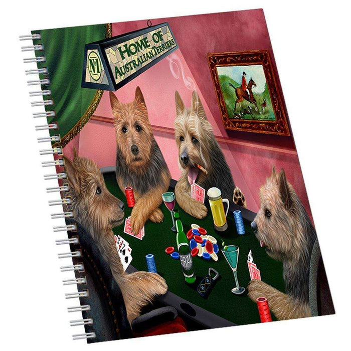 Home of Australian Terriers 4 Dogs Playing Notebook