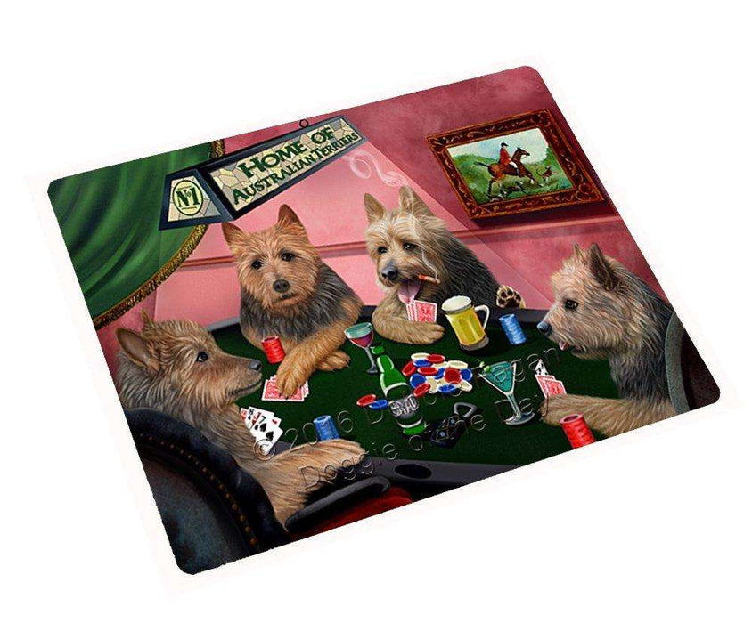 Home of Australian Terriers 4 Dogs Playing Poker Large Refrigerator / Dishwasher Magnet