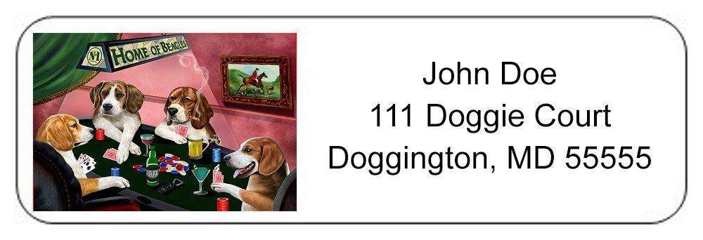 Home of Beagles 4 Dogs Playing Poker Return Address Label