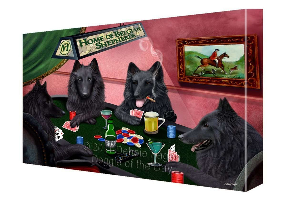 Home of Belgian Shepherd 4 Dogs Playing Poker Painting Printed on Canvas Wall Art Signed