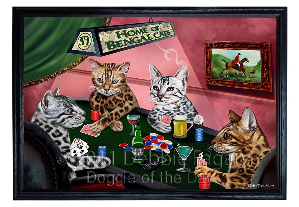 Home of Bengal Cats 4 Dogs Playing Poker Framed Canvas Print Wall Art