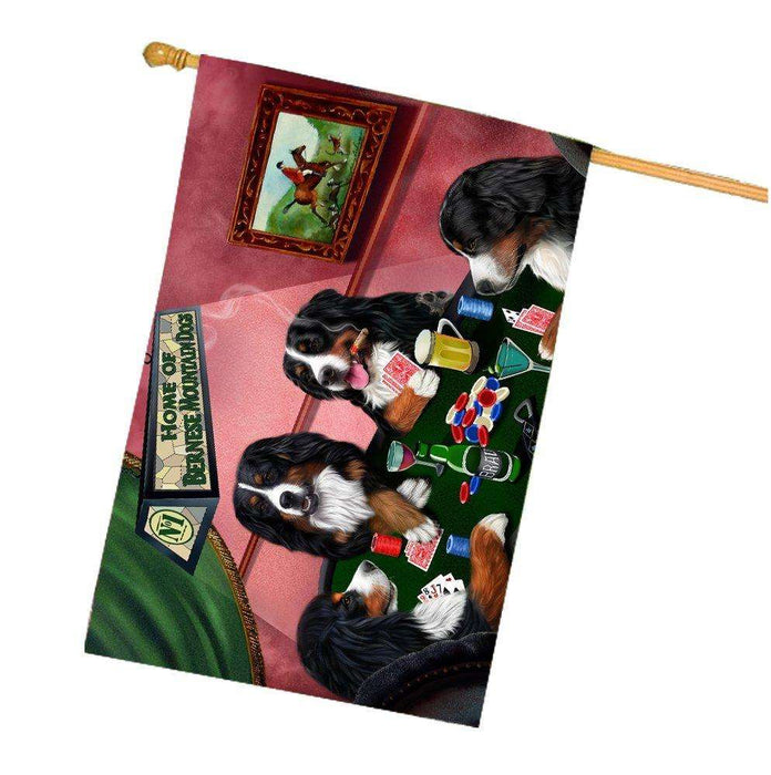Home of Bernese Mountain 4 Dogs Playing Poker House Flag