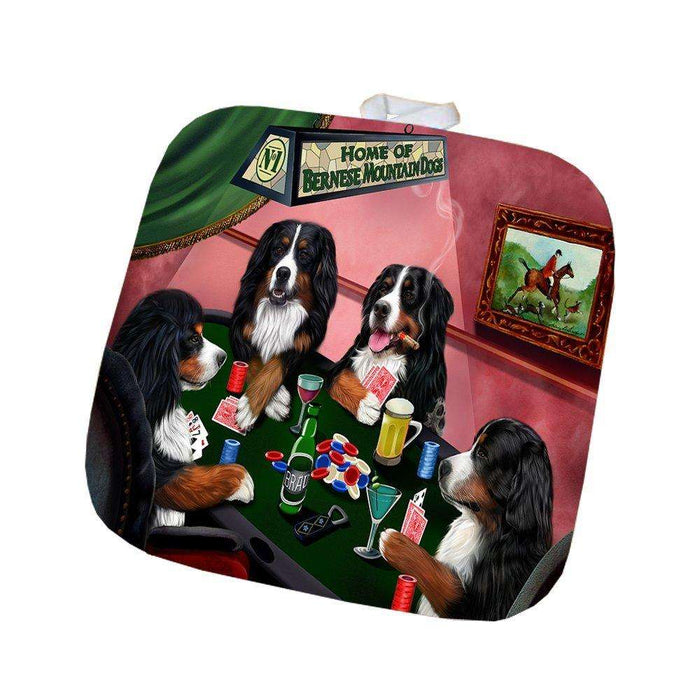 Home of Bernese Mountain Dog 4 Dogs Playing Poker Pot Holder