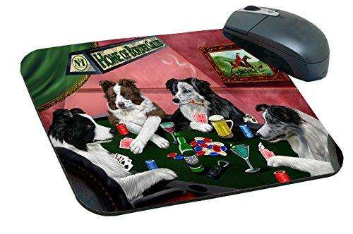 Home of Border Collie Mousepad Four Dogs Playing Poker