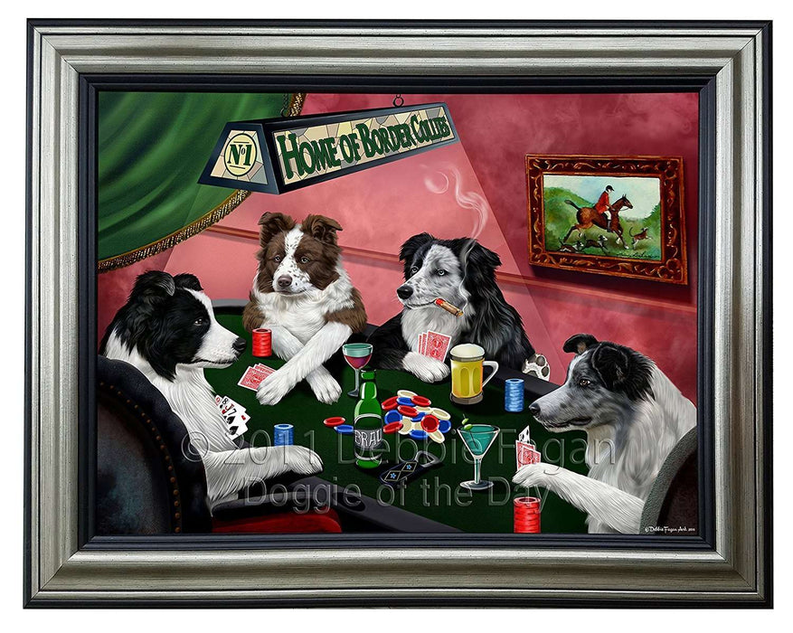 Home Of Border Collies 4 Dogs Playing Poker Framed Canvas Print Wall