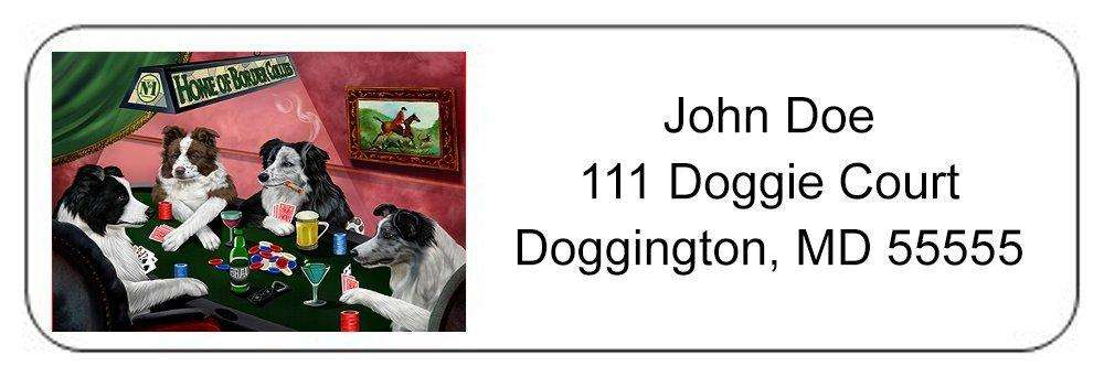 Home of Border Collies 4 Dogs Playing Poker Return Address Label