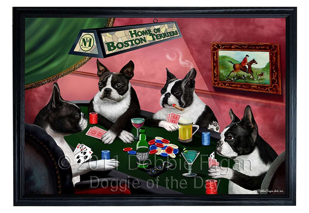 Home of Boston 4 Dogs Playing Poker Framed Canvas Print Wall Art