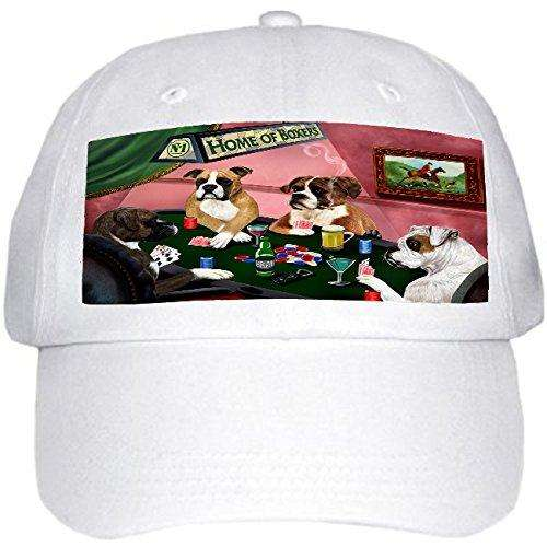 Home of Boxers 4 Dogs Playing Poker Hat White