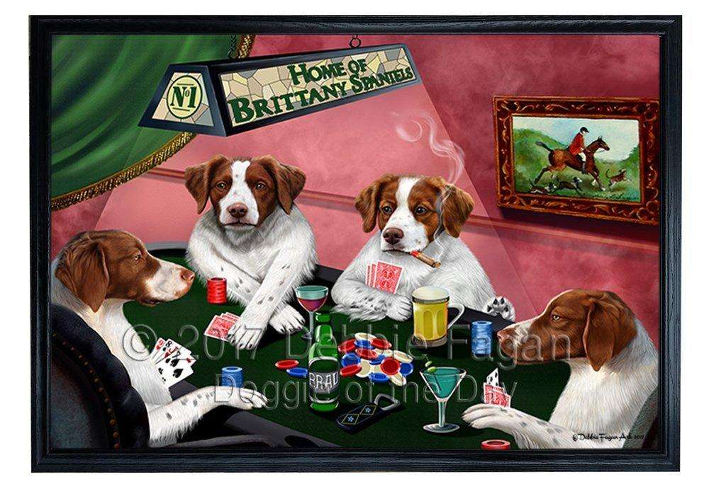 Home of Brittany Spaniels 4 Dogs Playing Poker Framed Canvas Print Wall Art