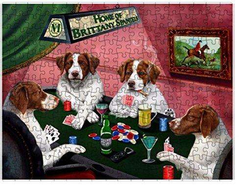 Home of Brittany Spaniels 4 Dogs Playing Poker Puzzle with Photo Tin