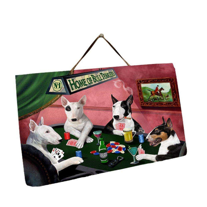 Home of Bull Terrier 4 Dogs Playing Poker Photo Slate Hanging