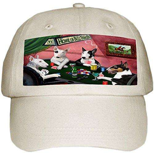 Home of Bull Terriers 4 Dogs Playing Poker Hat Off White