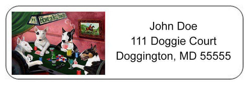 Home of Bull Terriers 4 Dogs Playing Poker Return Address Label