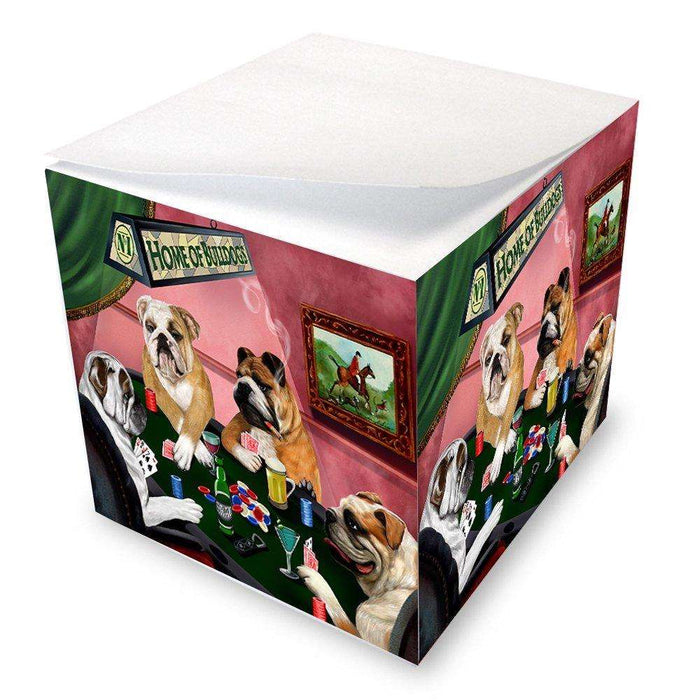 Home of Bulldogs 4 Dogs Playing Poker Note Cube