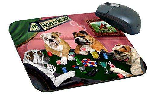 Home of Bulldogs Mousepad Four Dogs Playing Poker
