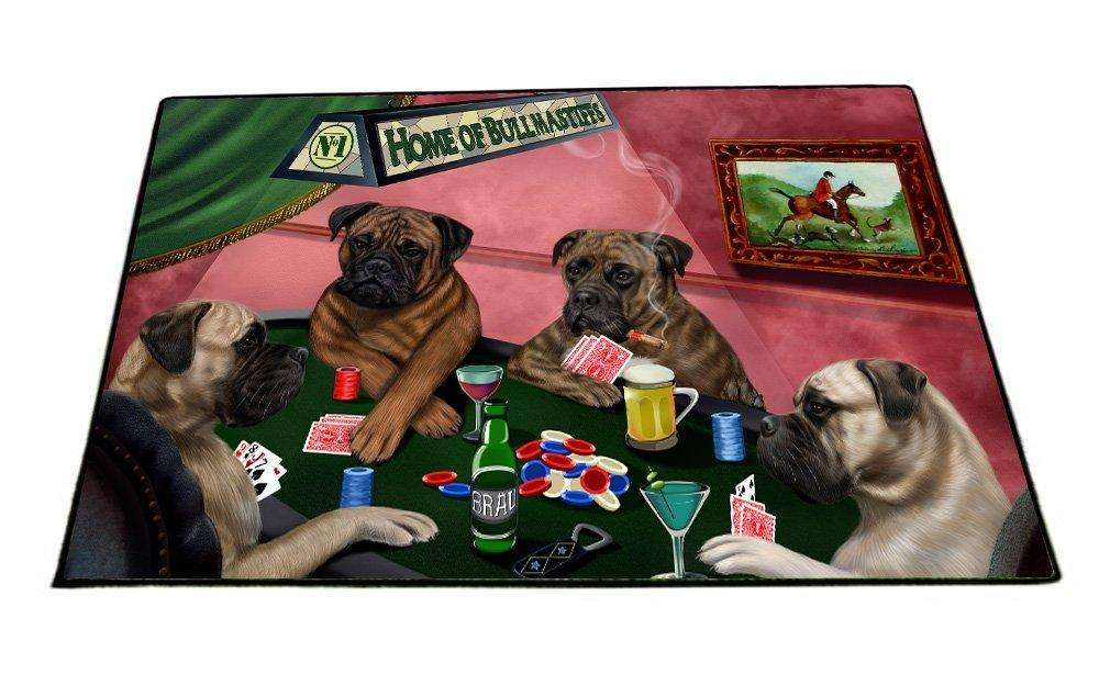 "Home of Bullmastiff 4 Dogs Playing Poker Floormat 24"" x 36"""