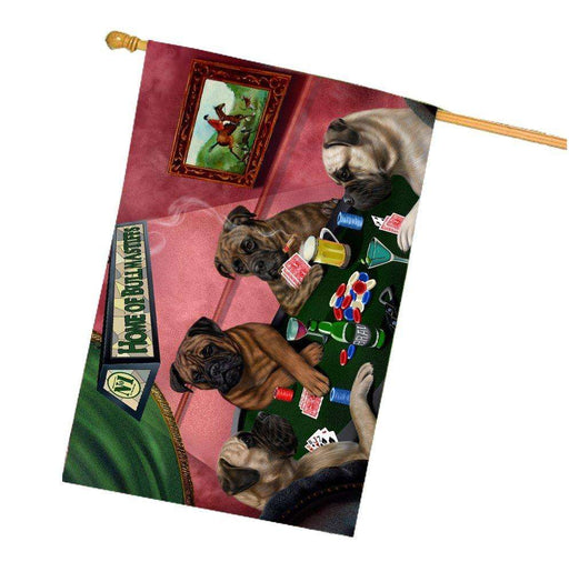 Home of Bullmastiff 4 Dogs Playing Poker House Flag