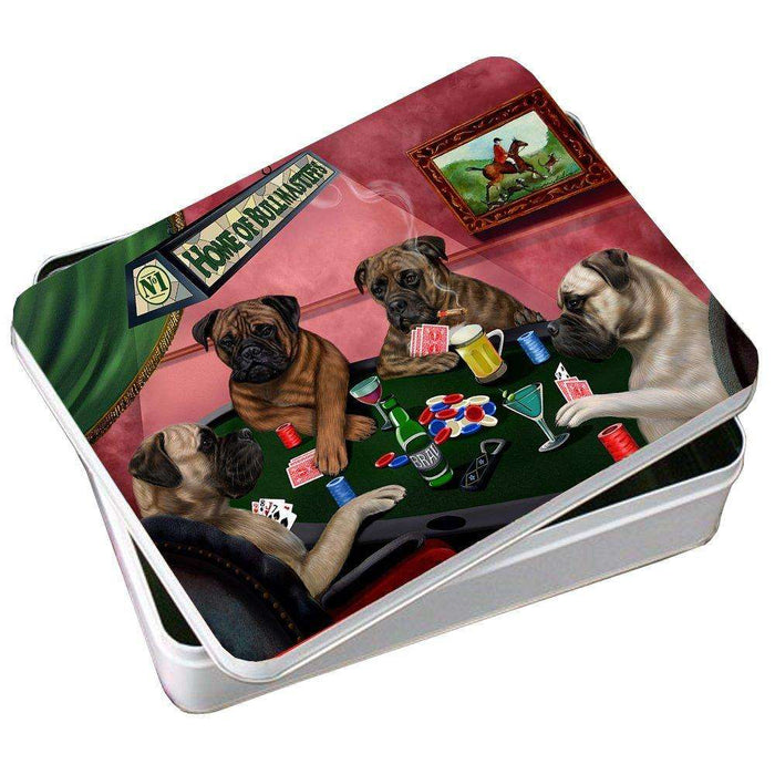 Home of Bullmastiff 4 Dogs Playing Poker Photo Tin