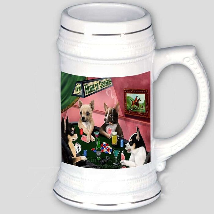 Home of Chihuahua 4 Dogs Playing Poker Beer Stein