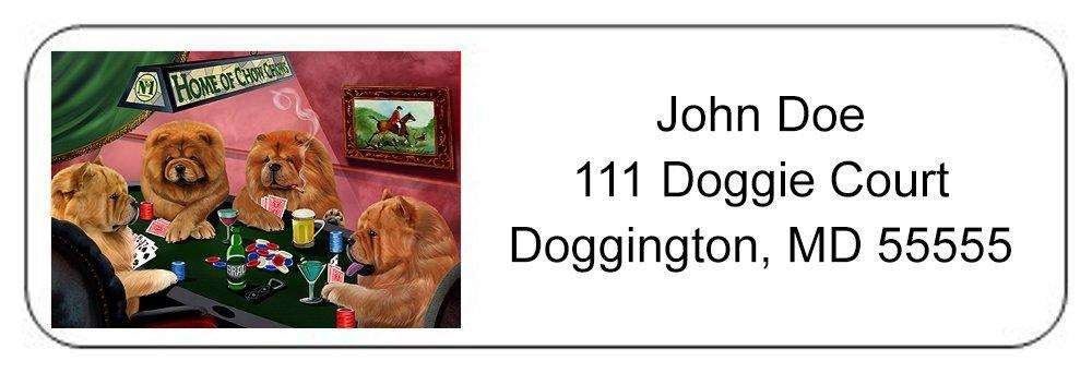 Home of Chow Chow 4 Dogs Playing Poker Return Address Label