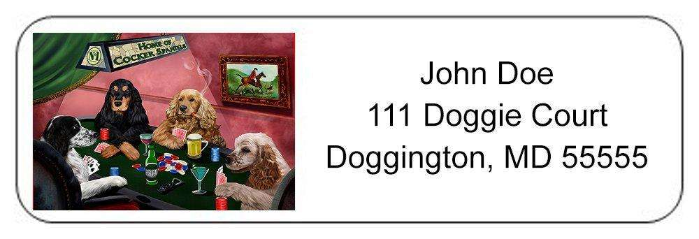 Home of Cocker Spaniel 4 Dogs Playing Poker Return Address Label