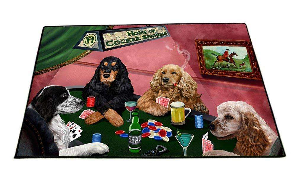 "Home of Cocker Spaniels 4 Dogs Playing Poker Floormat 18"" x 24"""