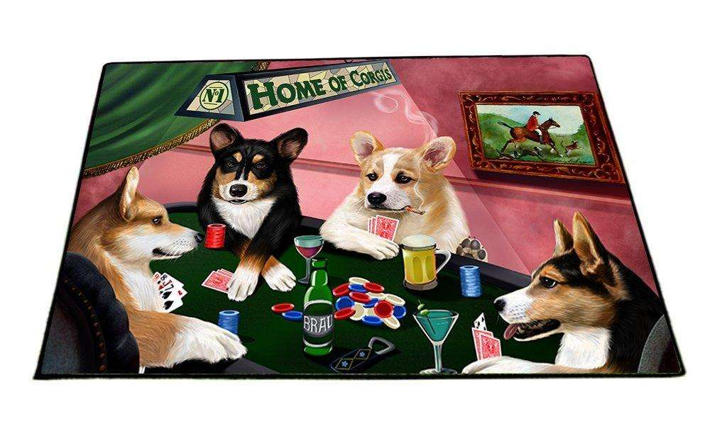 "Home of Corgis 4 Dogs Playing Poker Floormat 18"" x 24"""