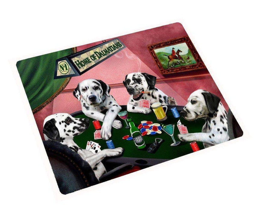 "Home of Dalmatians 4 Dogs Playing Poker Large Tempered Cutting Board 15.74"" x 11.8"" x 5/32"""