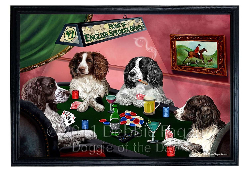 Home of English Springer Spaniel 4 Dogs Playing Poker Framed Canvas Print Wall Art