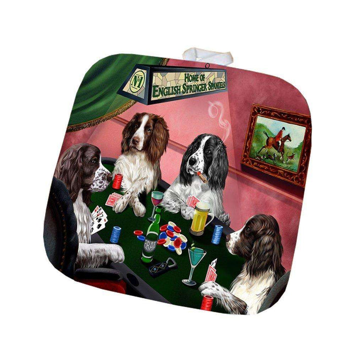 Home of English Springer Spaniel 4 Dogs Playing Poker Pot Holder
