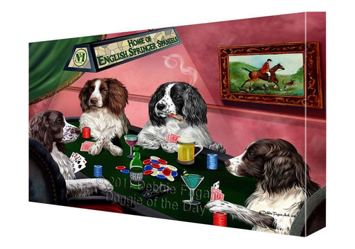 "Home of English Springer Spaniel Dogs Playing Poker Canvas Gallery Wrap 1.5"" Inch"
