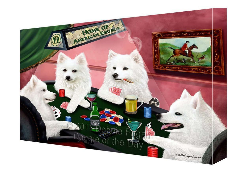"Home of Eskimo Dogs Playing Poker Canvas Gallery Wrap 1.5"" Inch"