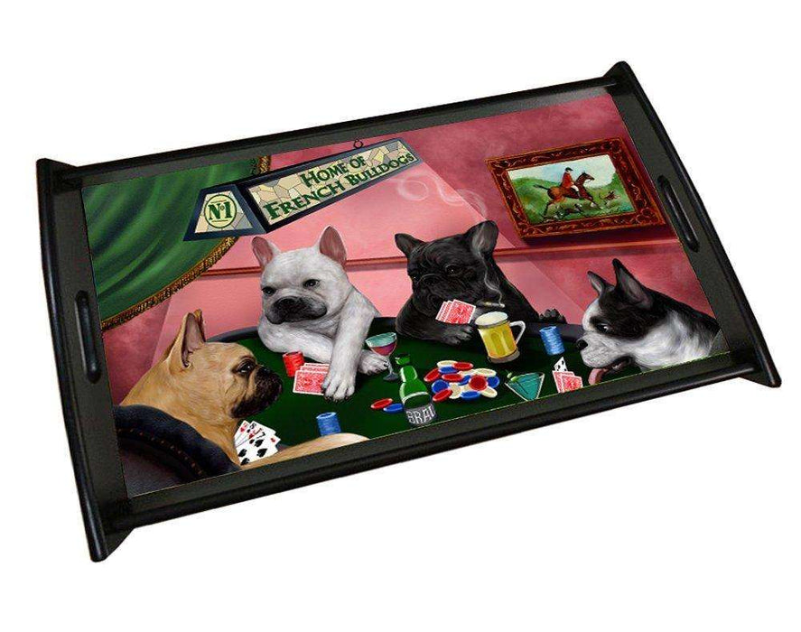 Home of French Bulldog 4 Dogs Playing Poker Black Wood Serving Tray