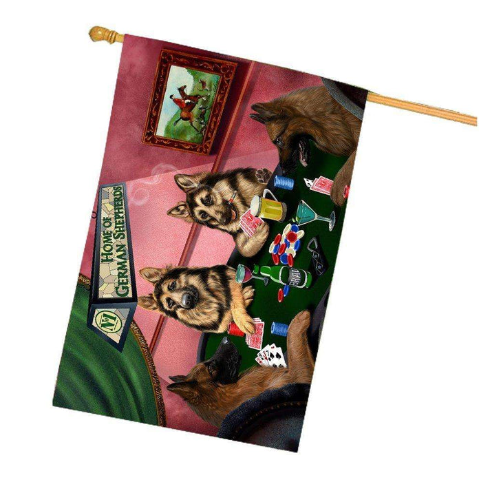 Home of German Shepherd 4 Dogs Playing Poker House Flag