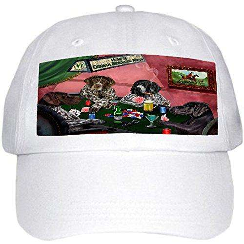 Home of German Shorthaired Pointers 4 Dogs Playing Poker Hat White