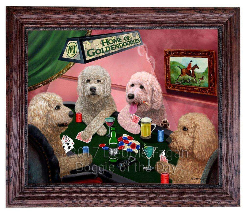 Home of Goldendoodles 4 Dogs Playing Poker Framed Canvas Print Wall Art