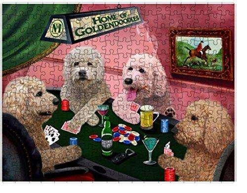 Home of Goldendoodles 4 Dogs Playing Poker Puzzle with Photo Tin