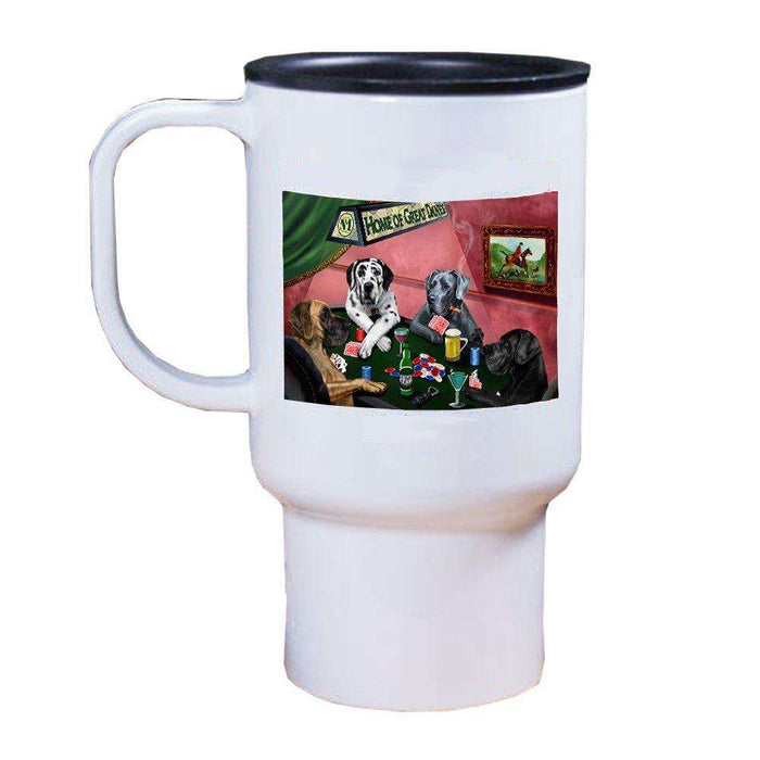Home of Great Dane 4 Dogs Playing Poker Travel Mug
